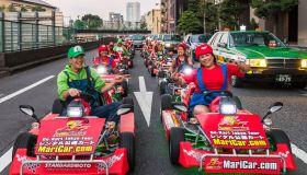 Group of real life Mario kart in Tokyo
