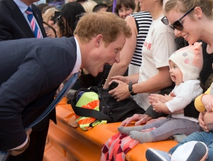 Prince Harry goes for a walkabout on Cashel Street Mall in Christchurch, New Zealand on May 12, 2015.
