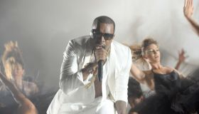 US rapper Kanye West performs during the