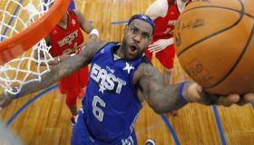 The East Team's LeBron James (C) of the